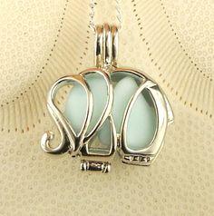 Sea Glass Necklace Elephant Locket Blue Milk by seaglassgems4you, $38.00