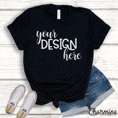 Bella Canvas Black Crew Shirt Product Mock Up, Shirt Mock Up