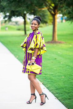 Let's discuss this butterfly shift dress! It's so fun, right? I love the colors and the sleeves. I particularly love the pattern on the bodice of the dress. African Print Dress Designs, African Print Dresses, African Print Fashion, African Dress, Africa Fashion, African Attire, African Wear, African Women, African Beauty