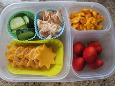 Lunch box ideas -- may have to get the compartment containers - also like the idea of re-useable baking cups to seperate foods.....