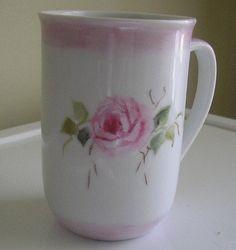 Hand Painted Porcelain Mug Pink Roses by MarilynKelleyArt