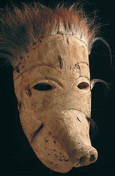 Brazilian Masks - Amazon Indian pig mask. I like the use of layering.