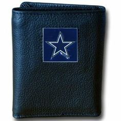 Dallas Cowboys Leather/Nylon Trifold Wallet - NFL Football Fan Shop Sports Team Merchandise by Siskiyou. $16.61. Exterior made of high quality fine grain leather. Numerous interior pockets. Packed in retail box. Hand painted pewter team emblem. Officially licensed by the NFL. Our NFL collectors leather/nylon tri-fold wallet features a sculpted and handpainted team square on a black leather trifold. Includes an ID window, slots for credit cards and clear plastic photo sleeve...
