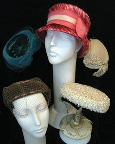 Old Women's Hats...I have all of these in one form or another in my collection!