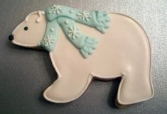 Polar Bear Cookie - the white piping makes all the difference on this.  Love.