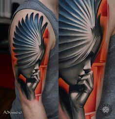 http://tattooideas247.com/angel-2/ Angel #ADPancho, #Angel, #ArmInk, #Beautiful, #Portrait, #Pretty, #Sleeve, #Wings