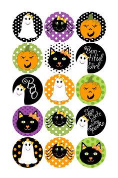 Halloween Bottle Caps | Holiday Bottle Caps Designs | Halloween- Polka Dots