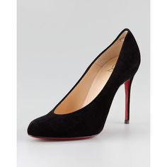 Christian Louboutin Yousra High-Cut Red Sole Pump ($795) ❤ liked on Polyvore