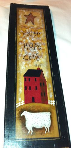 Handmade, Primitive, Faith,Hope,Love Painting.. $25.00, via Etsy.