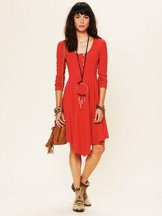 Sauce long sleeve henley dress