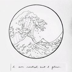 """I am rooted, but I flow""  Hokusai's Great Wave drawing by @elesq with the words of Virginia Woolf."