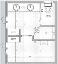 Master bath and closet floor plan