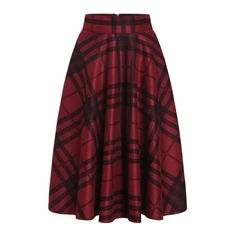SheIn(sheinside) Red Black Plaid Midi Skirt ($31) ❤ liked on Polyvore featuring skirts, red, black skirt, plaid pleated skirt, plaid skirt, black knee length skirt and long red skirt
