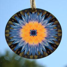 "Water Lily Suncatcher Sacred Geometry Mandala Kaleidoscope Amethyst Supernova  $28  3 1/2"""