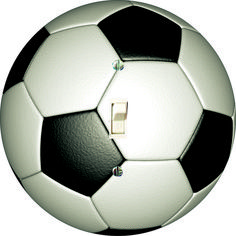 Soccer single toggle light switch wall plate. Round shape. Made in USA