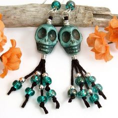 Green Skulls Dangle Earrings, Teal Beads, Halloween, Day of the Dead #handmade by #PrettyGonzo   http://www.artfire.com/ext/shop/product_view/PrettyGonzo/5179028