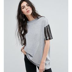 ASOS TALL T-Shirt with Stripe Sequin Sleeve (30 AUD) ❤ liked on Polyvore featuring tops, t-shirts, grey, tall tees, polyester t shirts, sequin t shirt, oversized tees and sequined top