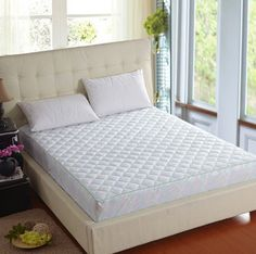NEW Quilted Mattress white Bed Protector Topper Fitted Cover 16050402