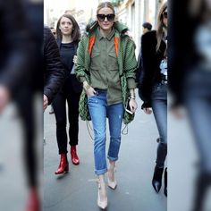 #oliviapalermo provides serious #inspo in this photo.  I appreciate when someone's #streetstyle is on point but can be worn in real life.  Everything from the half tuck of the shirt, to the cuff of the jean, and I love the pale pink shoe (which I think goes great with the military green) looks so effortlessly flawless.  Again this would be a super easy translation into anyone's wardrobe.  Ok we might not have the #bulgari serpent watch, but everything else could be imitated from stores like…