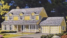 Home Plans HOMEPW13921 - 2,031 Square Feet, 4 Bedroom 2 Bathroom Country Home with 2 Garage Bays