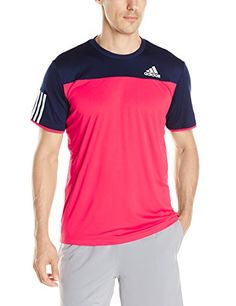 adidas Men's Tennis Club Tee, Medium, Ray Red/Collegiate Navy Stripes ** See this great product.