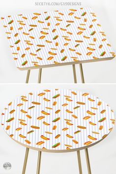 """* Side Table for the Kitchen * Hot Dog Pattern With Pinstripes Side Table by #Gravityx9 at Society6 * Measures Round or Square: 19"""" x 19"""" x 19"""" (H) * Baltic birch table top with beveled edge * This design is available on Tee Shirts, carry-all tote bags, drink coasters, serving trays, pillows, home decor and more. * home furnishings * #homedecor #furnishings #furnishings #table #sidetable #accenttable #cardtable #cornertable #endtable #hotdogs #playinwithfood #frankfurters #wieners 0721 Corner Table, Dog Pattern, Food Themes, Serving Trays, Table Cards, Baltic Birch, Drink Coasters, End Tables, Hot Dogs"""