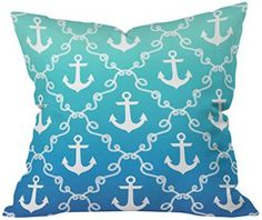 DENY Designs Jacqueline Maldonado Nautical Knots Ombre Blue Throw Pillow If you love spending time at the ocean and relaxing on the beach consider getting some fun, cute and trendy nautical throw pillows. A nautical home decor theme is a great way to bring the sea to you. You can place these beautiful coastal accent pillows on couches or beds. Additionally you can place them on arm chairs and even benches. You will find that nautical throw pillows work well in beach home decor, coastal ho