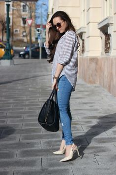 spring outfit, fashion blogger, stripes, long hair, elegant, chic, stylish, spring 2017