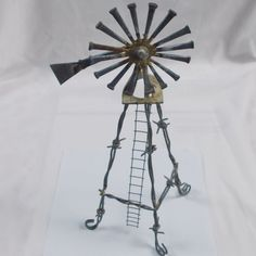 Rustic Metal Horseshoe Nails and Barbwire Windmill Folk Art Sculpture Figurine