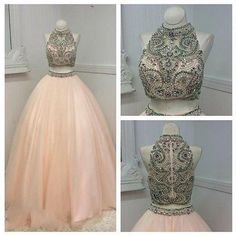 Two Piece Prom Dress,Long Prom Dresses,Evening Formal Dress,Crystal
