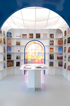 New Delhi Bookstore Goes For 'Illuminated Geometric Cavern' #bookstore #books #bookshelves