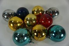 Vintage Plastic Christmas Ornaments,  Plastic Balls, 10 Holiday Ornaments, Child…