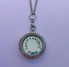 Hand Stamped personalised floating living locket with birthstones £21.00