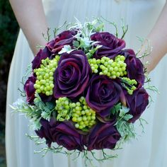 Wedding bouquet Dark purple roses  and boutonniere by Marcellinewedding on Etsy
