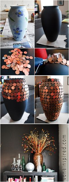 LOVE THESE!!!!  pennies vase, belt vase, raffia ribbon and oatmeal canisters vase, rope vase, and the wine cork vase and wine bottle holder!