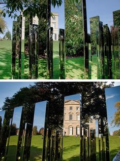 """Located in the grounds of Royal Fort House at the University of Bristol, this mesmerising public art installation by Danish artist Jeppe Hein comprises a square labyrinth of 76 vertical polished steel plates. Hein's inspiration for the sculpture, known as """"Follow Me"""", was drawn from the historic gardens designed by Sir Humphry Repton, and the university's role as a place of self-discovery."""