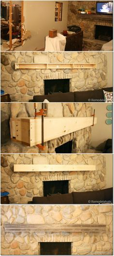 We needed a wood mantel installed on a stone wall. See how we ...