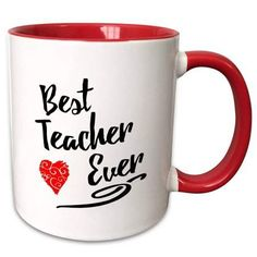 3dRose Typographic Design- Best Teacher Ever in Black with Red Swirly Heart - Two Tone Red Mug, 11-ounce