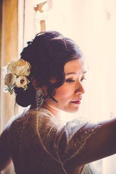 vintage inspired bridal look, photo by Ryan & Heidi Studios http://ruffledblog.com/intimate-west-village-wedding #bridal #hair #makeup