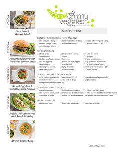 Vegetarian Meal Plan & Shopping List - Buffalo Chickpea Wraps, Fiery Fruit & Quinoa Salad + 3 more meatless dinners!