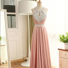 Formal Evening Dress Sheath / Column Halter Floor-length Stretch Satin with Beading / Crystal Detailing / Sequins – USD $ 109.99