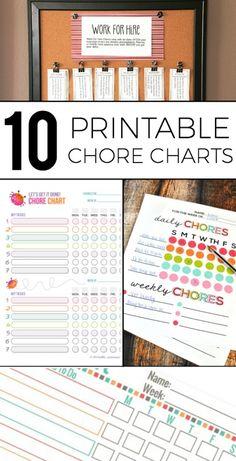 Printable chore charts.