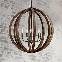 "Feiss Allier 26"" Wide Weathered Oak Wood Pendant Light"