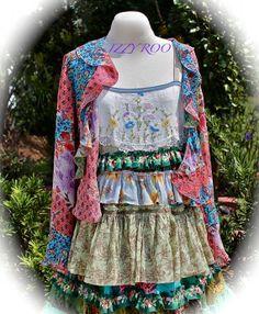 Boho Hippie Maxi Dress Rows Of Ruffles With Coordinating Jacket Shirt Frieda Kahlo Inspired