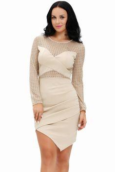 Crochet Patchwork Long Sleeve Bodycon Dress LAVELIQ