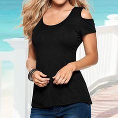 Summer Blusas Sexy Women Blouses Lace Crochet Short Sleeve Backless Off Shoulder Split Tops Blouse Shirt Plus Size - Black, M Like it? Get it here