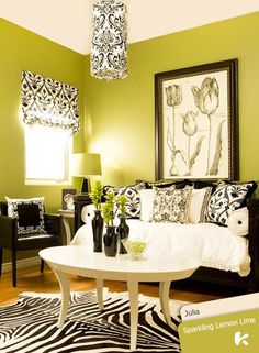 When diving in at the deep end with super bright hues such as lime green, use black and white to temper strong base colors. #KansaiPaint #color #colours #inspired #home #paint #walls #inspiration #interiors #interiordesign #design #designpro #decor #blue #colortones #interiorsofinstagram #instahome #black&white #blackandwhite #interiordesigner #nature #gorgeousgreen #green #limegreen #lime #hues #black #white #dubai #mydubai  Source: bit.ly/1DETje0