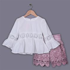 1f717781f93 New Style 2015 Summer Girl Clothes Set Kids Birthday Wear Children Pierced  Lace Clothing Set Child