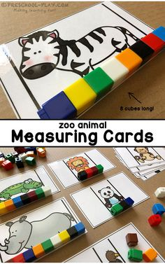 Zoo Animal Measuring Cards for preschool, pre-k, and kindergarten. An engaging way to practice nonstandard measurement. Part of a Mathematics (Functions · Measurement · Geometry · Reasoning) Center Activities packet. - Education and lifestyle Zoo Activities Preschool, Preschool Jungle, Pre K Activities, Zoo Animal Activities, Quiet Toddler Activities, The Zoo, Measurement Kindergarten, Nonstandard Measurement, Kindergarten Math Centers