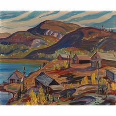 The Abandoned Consolidated Mining and Smelting Corp at Cross Fault Lake near Port Radium, Great Bear Lake, oil on canvas Group Of Seven Artists, Group Of Seven Paintings, Emily Carr, Canadian Painters, Canadian Artists, Tom Thomson Paintings, Jackson, Canada, Landscape Paintings